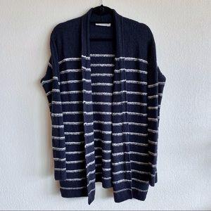 Vince Plush Striped Cozy Wool Cardigan